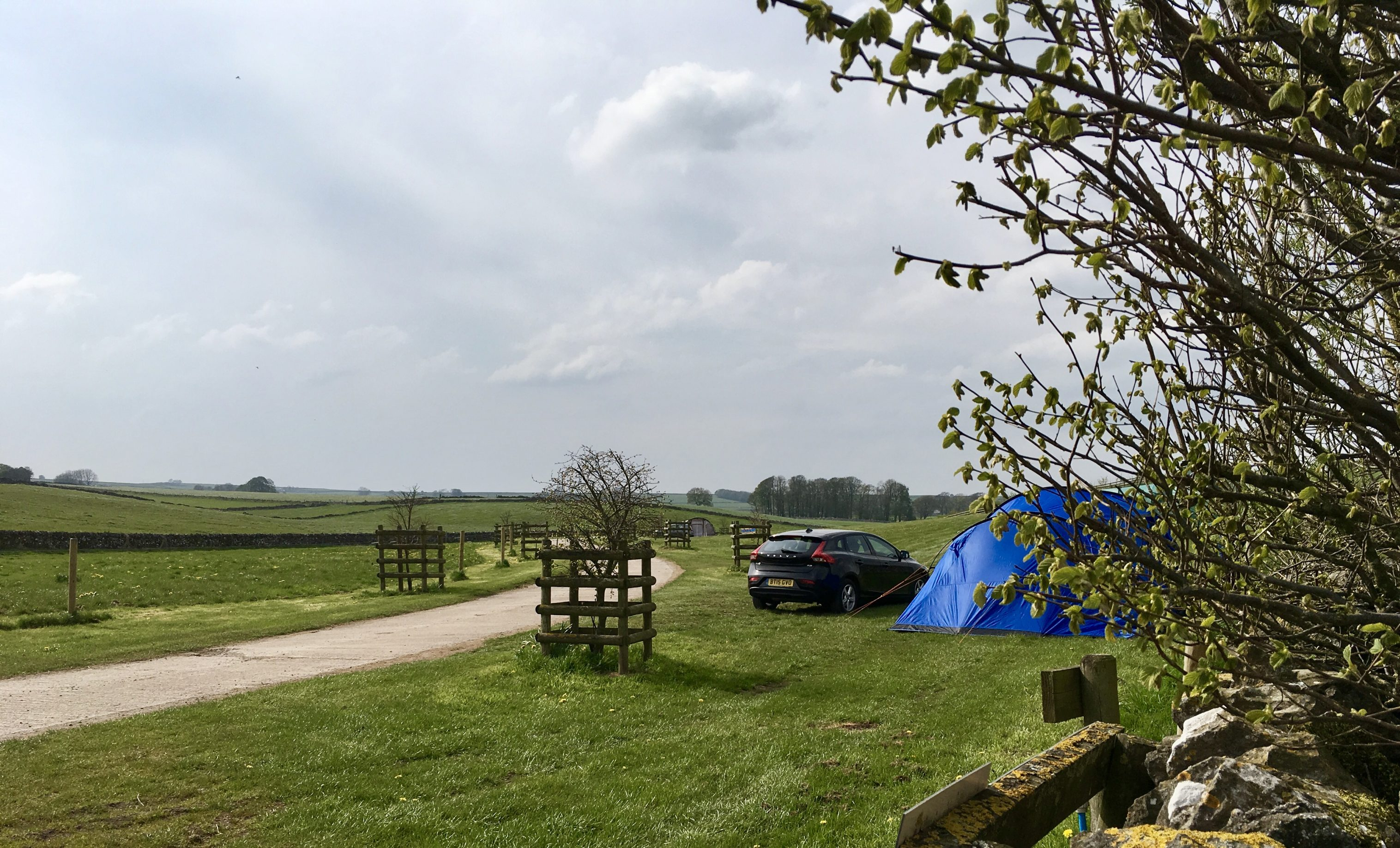 Peak District camping - tent at Knotlow Farm